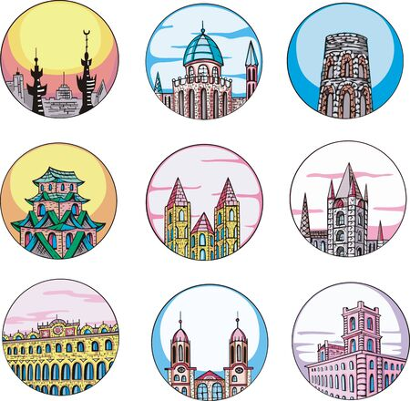 dingbats: Decorative architectural dingbats with temples and towers