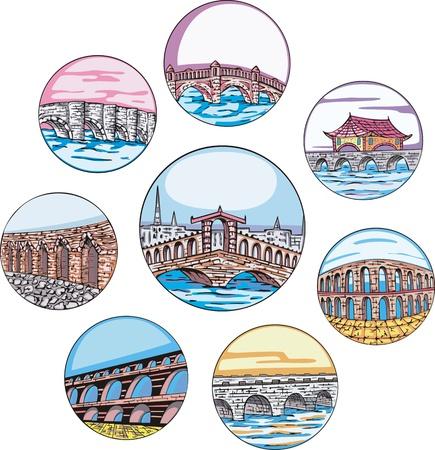 dingbats: Decorative architectural dingbats with bridges and aqueducts