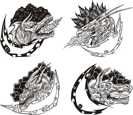 Decorative templates with dragon heads for mascot design.  Stock Vector - 17946236