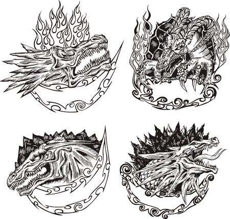 Decorative templates with dragon heads for mascot design. Stock Vector - 17946232