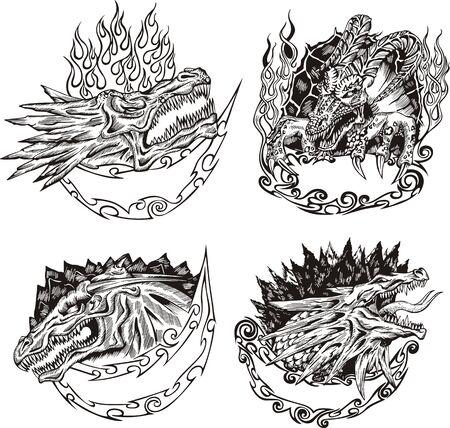 tatouage dragon: Mod�les d�coratifs avec t�tes de dragon pour la conception de la mascotte. Illustration