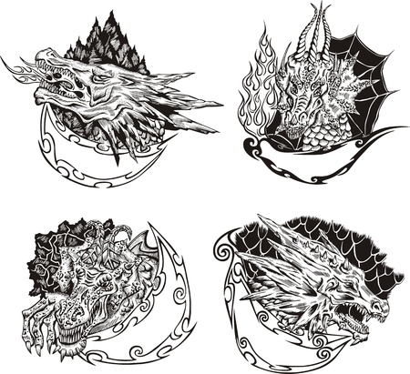 Decorative templates with dragon heads for mascot design.  Vector