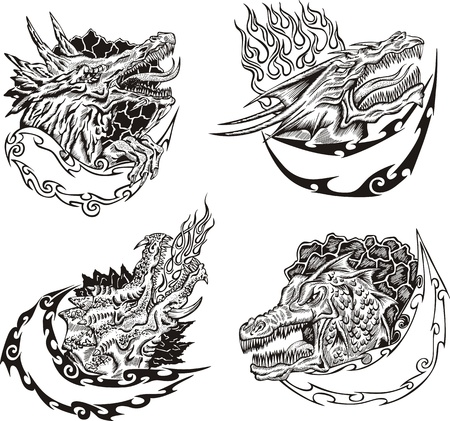 dragon tattoo: Decorative templates with dragon heads for mascot design.  Illustration