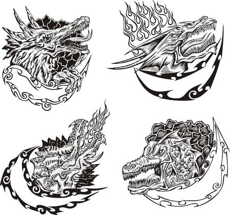 dragon tattoo: Modèles décoratifs avec têtes de dragon pour la conception de la mascotte. Illustration