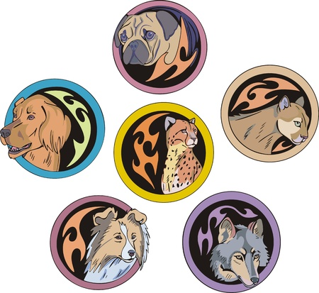 dingbats: set of decorative round dingbats with miscellaneous dogs and wild cats.