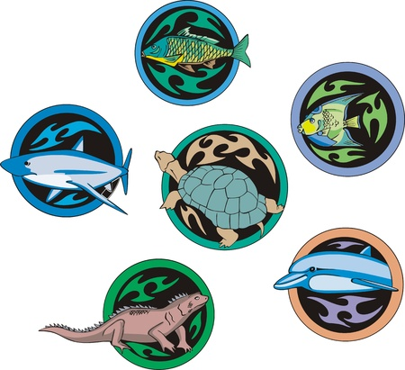 dingbats: set of decorative round dingbats with miscellaneous fish and reptiles.
