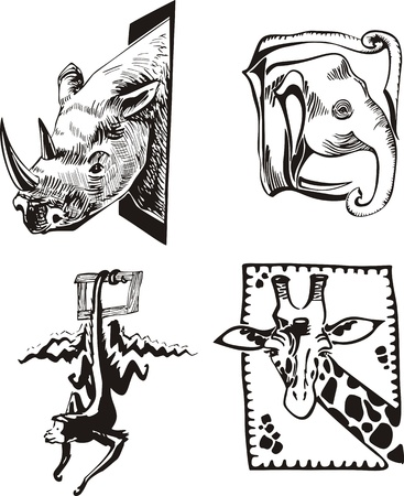 Sketches of African wild animals.  Vector