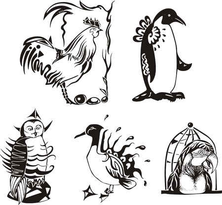 Sketches of miscellaneous birds.  Vector