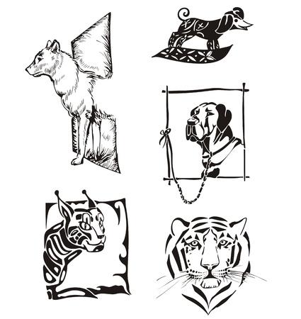 lince: Dibujos de animales. Los perros y los gatos salvajes.
