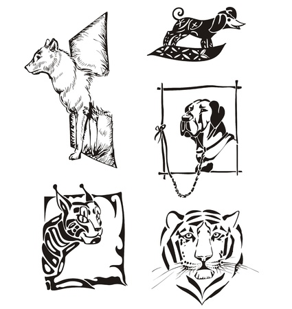 Sketches of animals. Dogs and wild cats. Vector