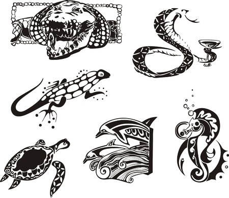 Sketches of reptiles and sea animals.  Vector