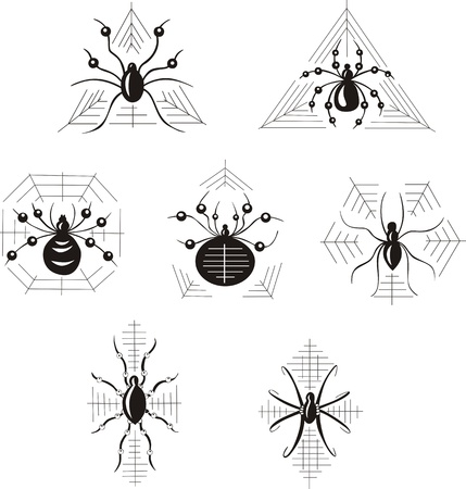 dingbats: set of decorative dingbats with spiders
