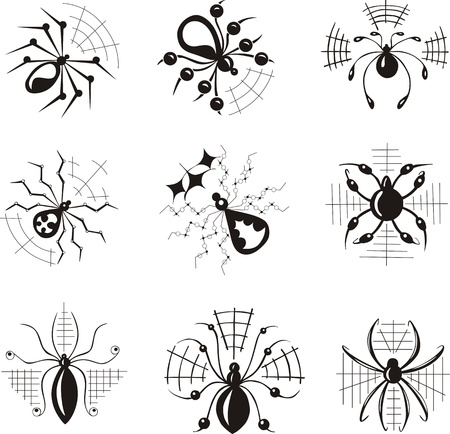 set of decorative dingbats with spiders Vector