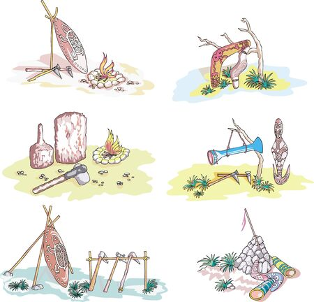 Australian native life. set of sketches. Stock Vector - 17947345