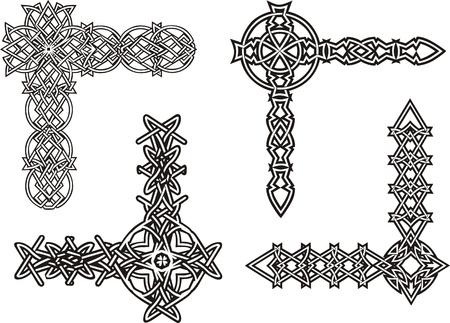 Celtic decorative knot corners. Black and white