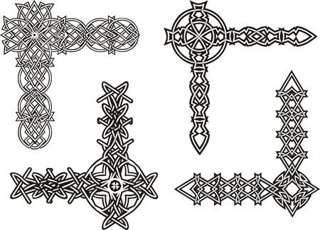 Celtic decorative knot corners. Black and white  Vector