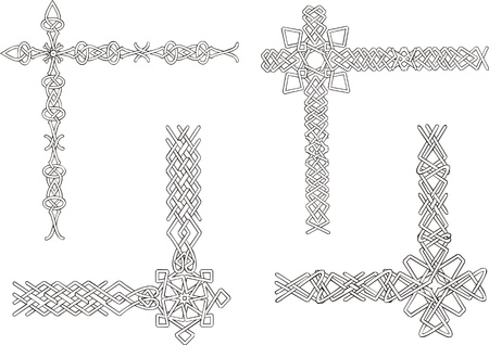 結び目: ケルト族の装飾的な結び目のコーナー。黒と白の装飾です。  イラスト・ベクター素材