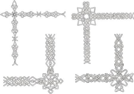 noue: Noeud celtique coins d�coratifs. D�corations en noir et blanc.