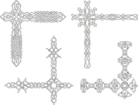 Celtic decorative knot corners. Black and white. Vector