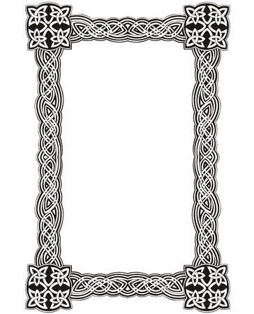 Celtic decorative knot frame. Black and white Illustration