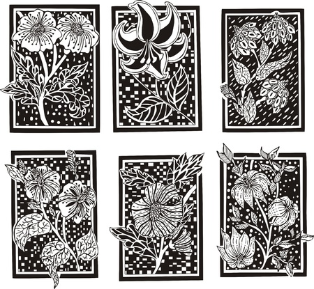 set of floral rectangle patterns. Black and white decorations. Vector
