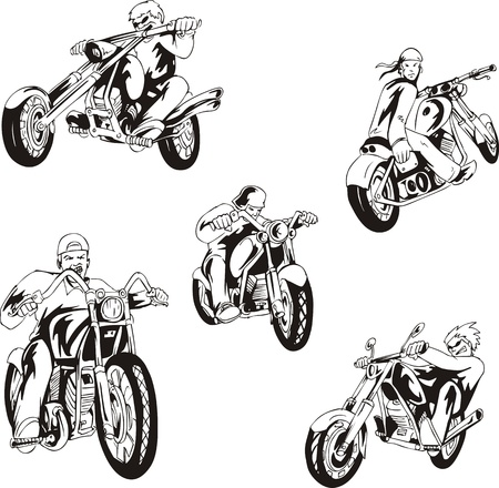 motorcycle rider: set of bikers on motorcycles. Black and white sketches. Illustration