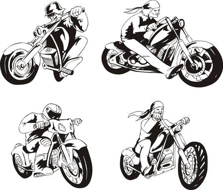 freeride: conjunto de los ciclistas en motocicletas. Bocetos en blanco y negro. Vectores