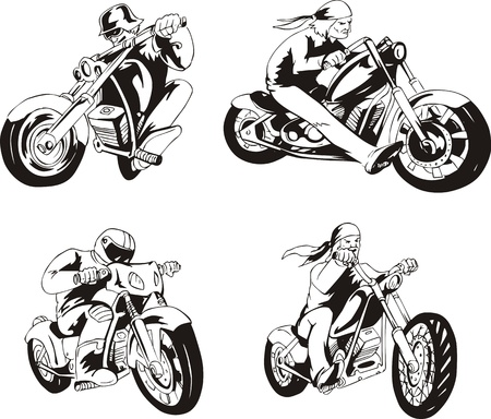 set of bikers on motorcycles. Black and white sketches. Vector