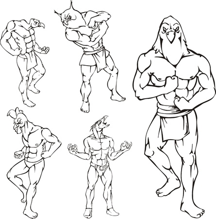 vulture: Miscellaneous bird mascots. Characters with human body and animal head.