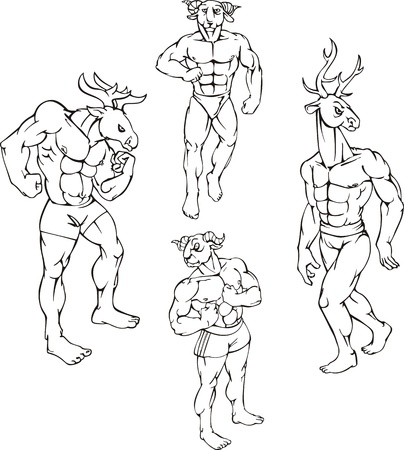 Animal mascots - elk, goat, deer. Characters with human body and animal head. Vector