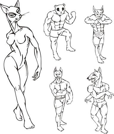 Mascots.Characters animaux divers avec le corps humain et tête d'animal.