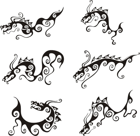 dragon tattoo: Stylistic dragon tattoos. Set of black and white vector illustrations.