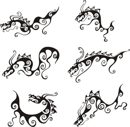tatouage dragon: Tatouages ??de dragon stylistique. Jeu de illustrations vectorielles en noir et blanc. Illustration