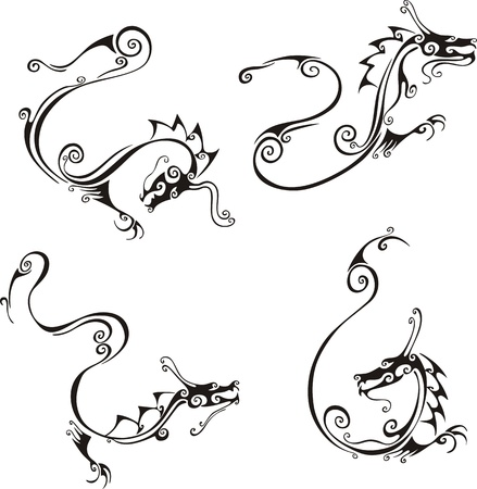 Stylistic exquisite dragon tattoos. Set of black and white vector illustrations. Stock Vector - 18830722