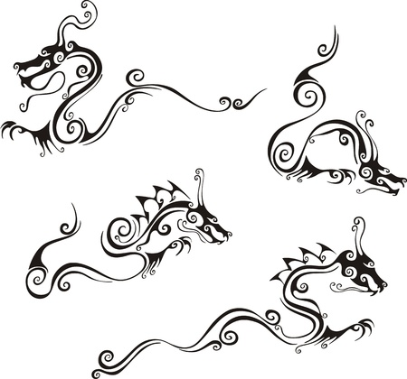 文体的なドラゴンのタトゥー。黒と白のベクトル イラストのセットです。