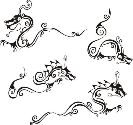 dragon chinois: Tatouages ??de dragon de style. Set d'illustrations vectorielles en noir et blanc.