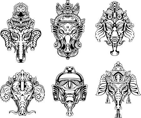 deities: Symmetric Ganesha masks. Set of black and white vector illustrations.