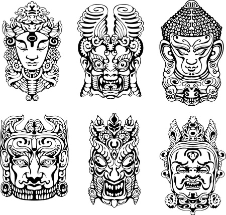 Hindu deity masks. Set of black and white vector illustrations.