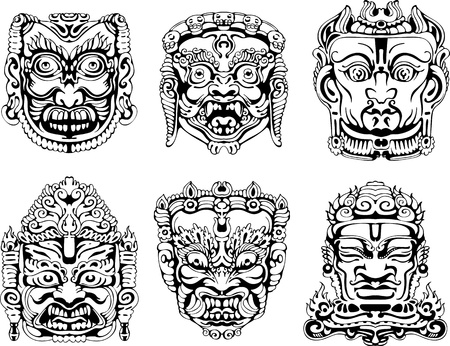 veda: Hindu deity masks. Set of black and white vector illustrations.