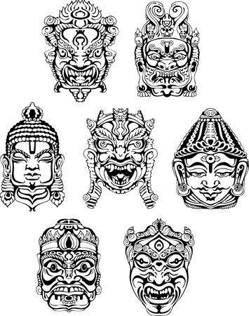 deity: Hindu deity masks. Set of black and white vector illustrations.