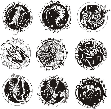 Round tattoos with animals. Set of black and white vector illustrations. Vector