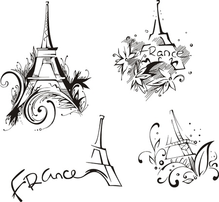 bourbon: Sketches with Eiffel Tower. Vector set of black and white illustrations.