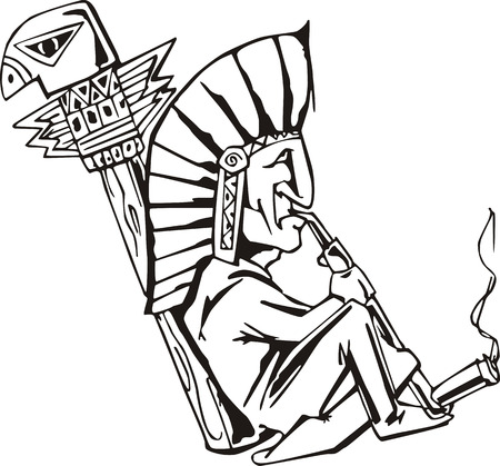 Native shaman smoking tobacco-pipe. Black and white vector illustration.