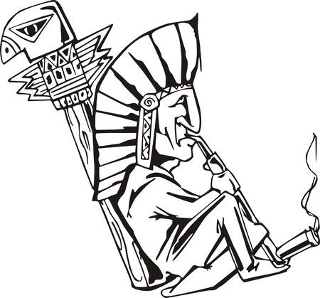 shaman: Native shaman smoking tobacco-pipe. Black and white vector illustration.