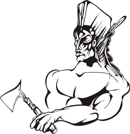 guerriero indiano: American indian guerriero. In bianco e nero illustrazione vettoriale.