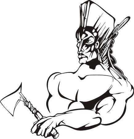 militant: American indian warrior. Black and white vector illustration.