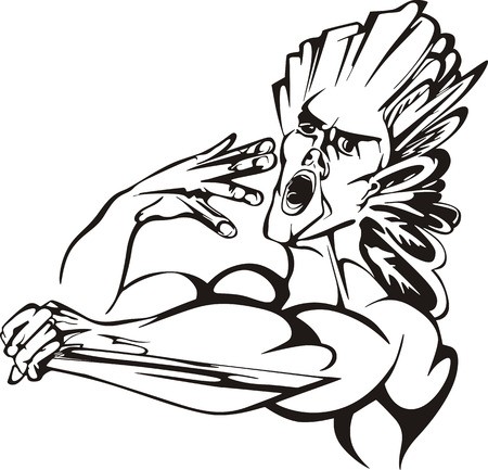 American indians battle-call. Black and white vector illustration.