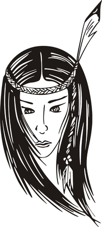 Young american indian girl. Black and white vector illustration.