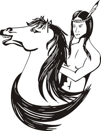 horseman: Joven indio americano jinete. Negro y blanco ilustraci�n vectorial.