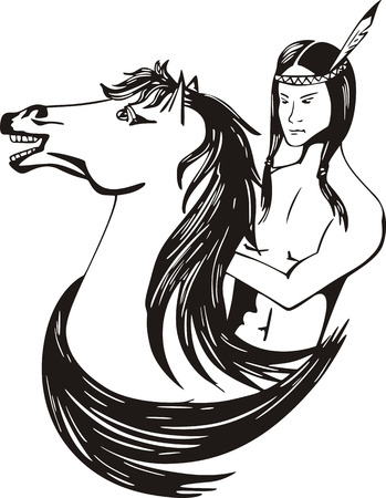 Young american indian horseman. Black and white vector illustration.